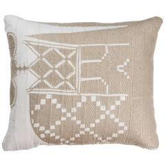 African Embroidery Pillow in Ivory and Beige
