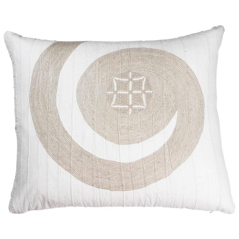 African Embroidery Pillow, Ivory and Beige
