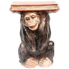 """Whimsical Terra Cotta """"Monkey"""" Table"""