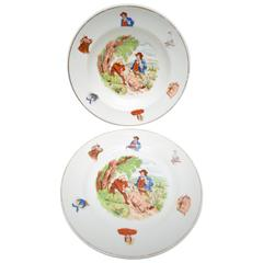 19th Century English Transferware Childs Plate and Bowl Set