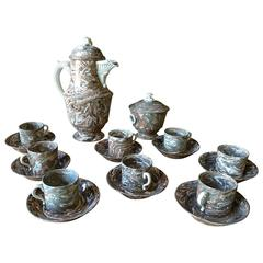 Rare Early 19th Century Demitasse Coffee Set from Apt, France