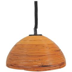 Large 1960s Rise and Fall Rattan Pendant Light