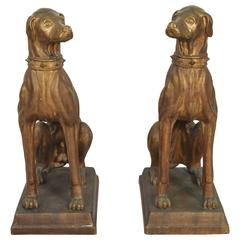 Exceptional Pair of 1920s Large Bronze Colored Italian Terracotta Dogs
