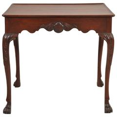 George III Irish Mahogany Silver Table with Shell Frieze on Both Sides