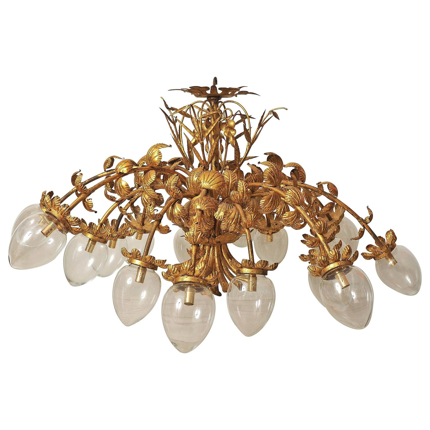 Magnificent 1940s Spanish 16 Arm Gold Toleware Chandelier at 1stdibs