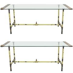 Pair of Glass, Brass and Steel Tables Recycled from Original Wedgwood Factory