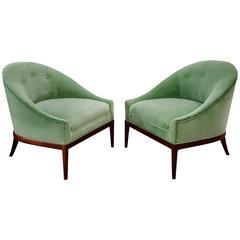 Pair of Modern Slipper Chairs in Celadon Green Velvet, 1960s