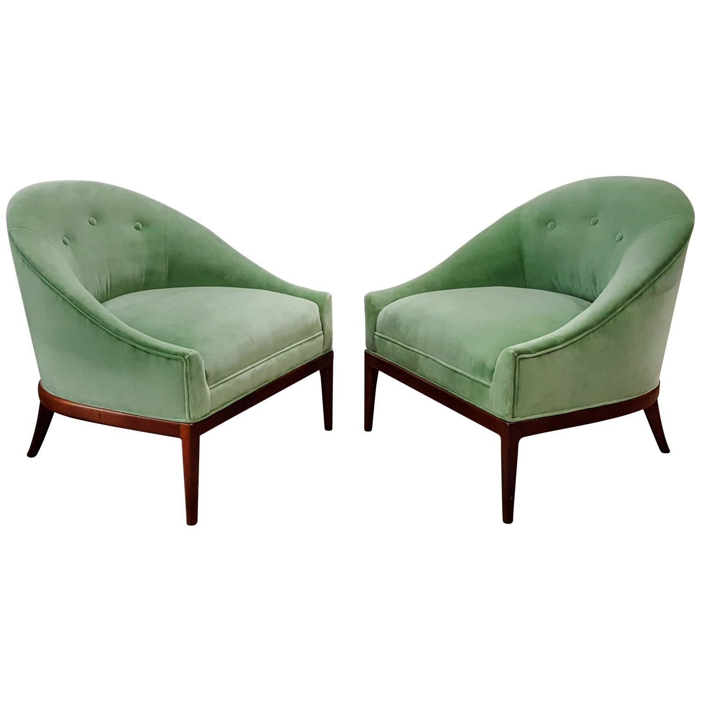 Pair of Modern Slipper Chairs in Celadon Green Velvet 1960s at