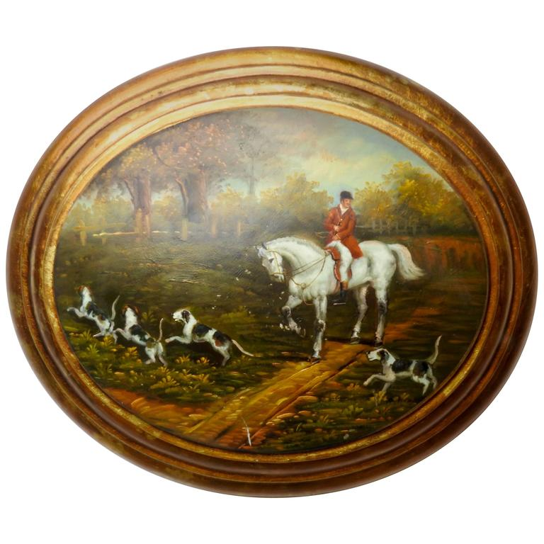 19th Century Oil on Wood English Hunt Scene