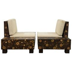 Pair of 1970s French Palmwood Marquetry Chairs