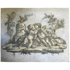 Painted Wallpaper Panel of Cherubs, French, Louis XVI
