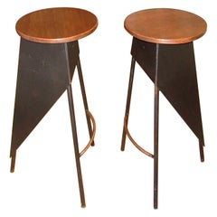 Pair of French Industrial Metal and Wood Stools