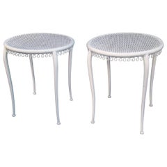 René Prou, Style of Pair of Lacquered Metal Art Deco Side Tables