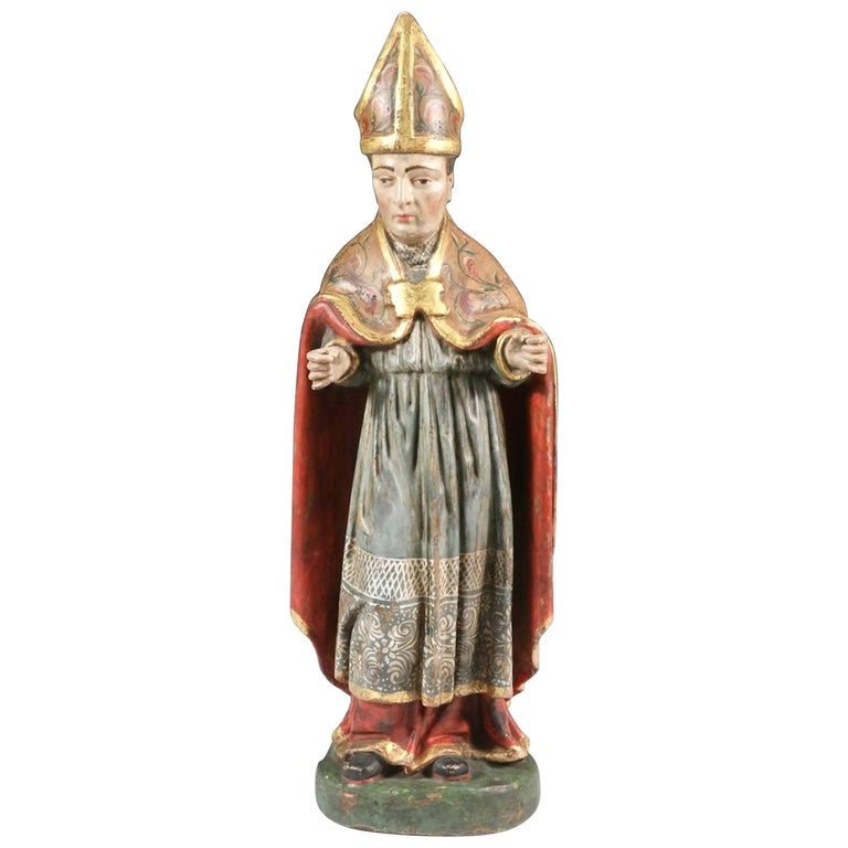 Saint Nicholas Carved Polychromed Santos Figure, Quito School, Late 18th Century