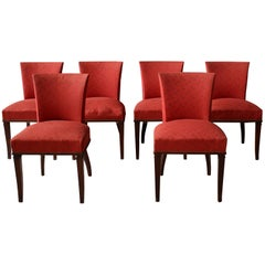 A Set of 6 Fine French Art Deco Rosewood Dining Chairs