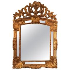 French Louis XIV Period Carved Giltwood Wall Mirror, Early 18th Century