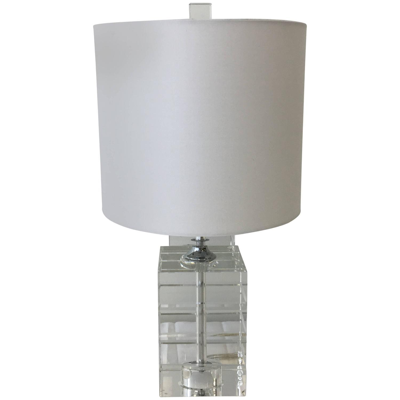 Captivating Drexel Crystal Cube Lamp At 1stdibs