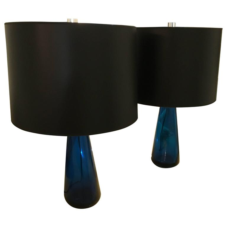 Mid-Century Modern Venini Pair of Blue Italian Murano Glass Table Lamps For Sale