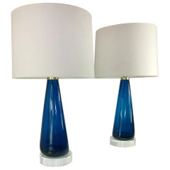 Mid-Century Modern Italian Signed Venini Murano Glass with Lucite Table Lamps