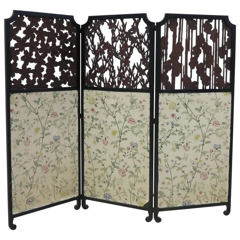 Aesthetic Movement Three-Panel Screen with Detailed Wood Carving, 19th Century