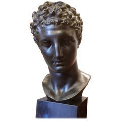 Bronze Sculpture of Head of Hermès After the Antique, France, 20th Century