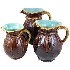 Joseph Holdcroft English Majolica Graduated Sack and Rope Pitchers, S/3