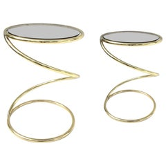 Pair of Brass and Bronze Glass Spiral Occasional Tables by Pace Collection