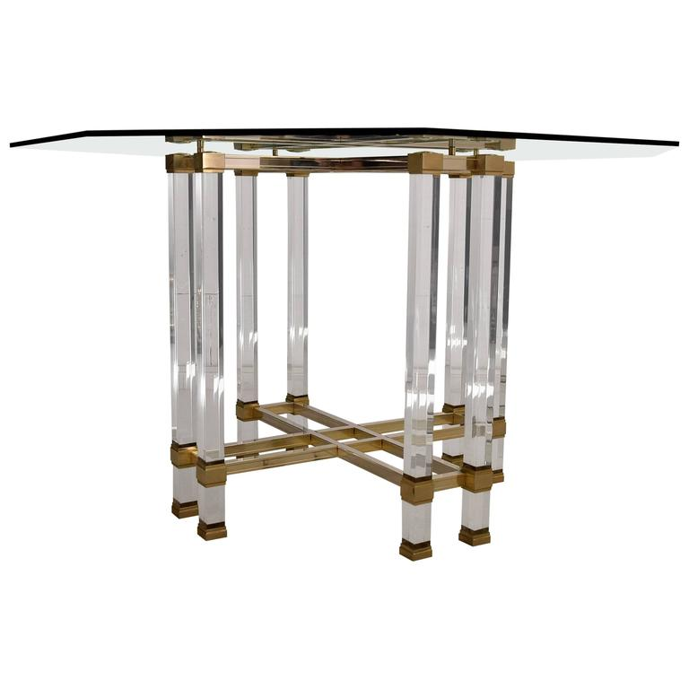 Pierre Vandel Lucite and Brass 1970s Dining Table