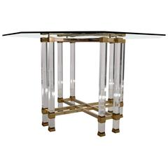 Pierre Vandel Lucite and Brass Hollywood Regency Dining Table