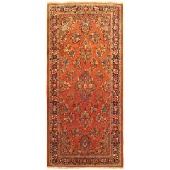 Vintage Persian Sarouk Oriental Rug, Small Runner Size, with Traditional Colors
