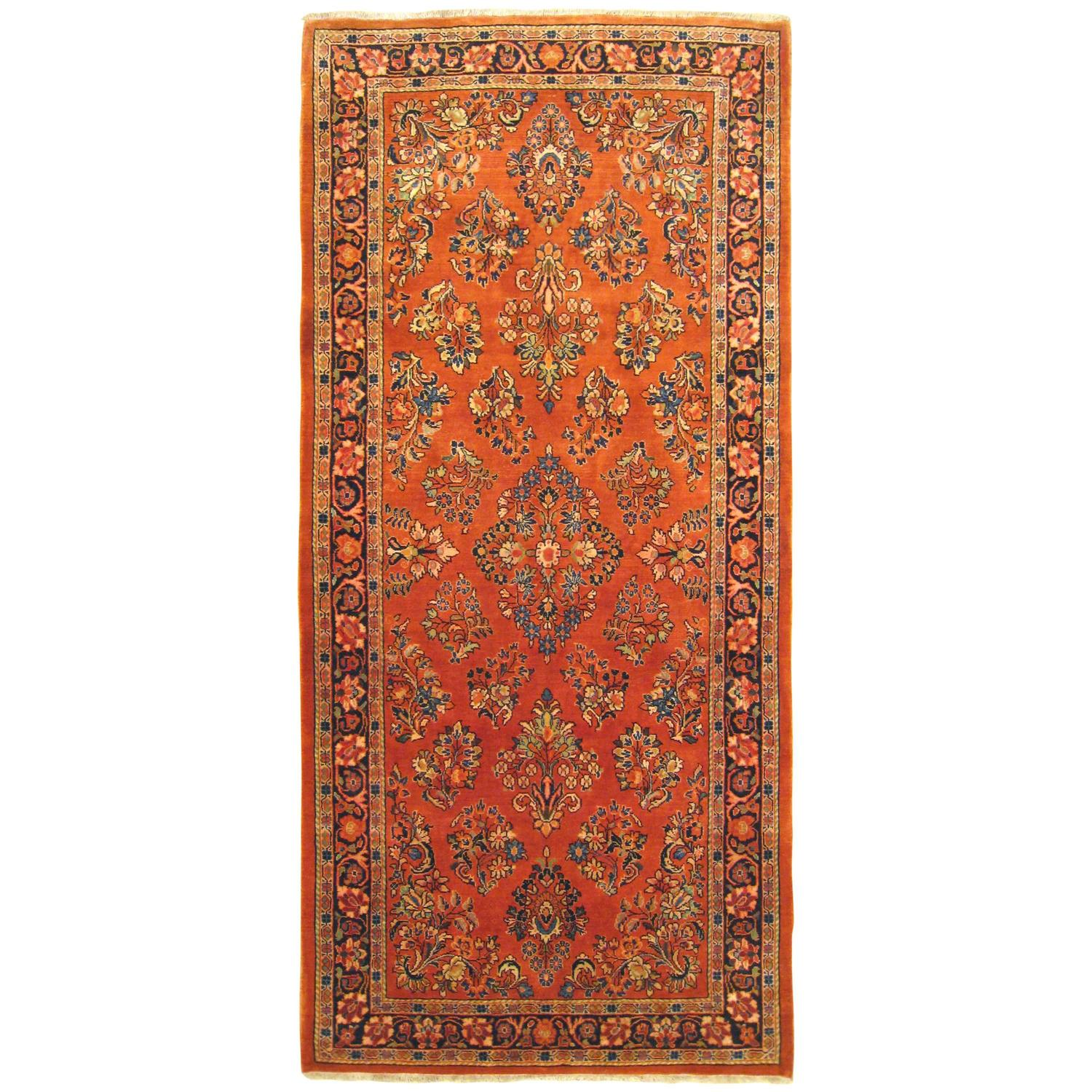 Chinese Rug Dealers: Vintage Persian Sarouk Oriental Rug In Small Runner Size
