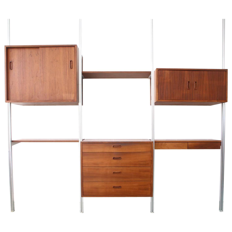 Three Bay George Nelson Omni Storage System Desk Wall Unit