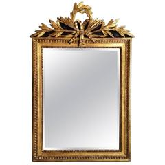 French Louis XVI Period Carved Giltwood Wall Mirror, France, 18th Century