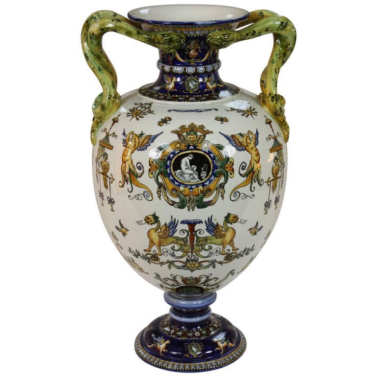 Large and Impressive Snake-Handled Gien Vase 1