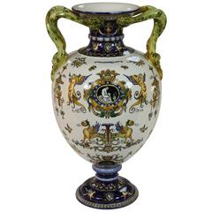 Large Faience Vase in the Italian Renaissance Style with Snake Handles by Glen