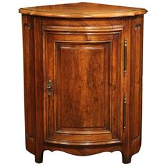 19th Century French Louis XIV Walnut Corner Cabinet with Bow Front