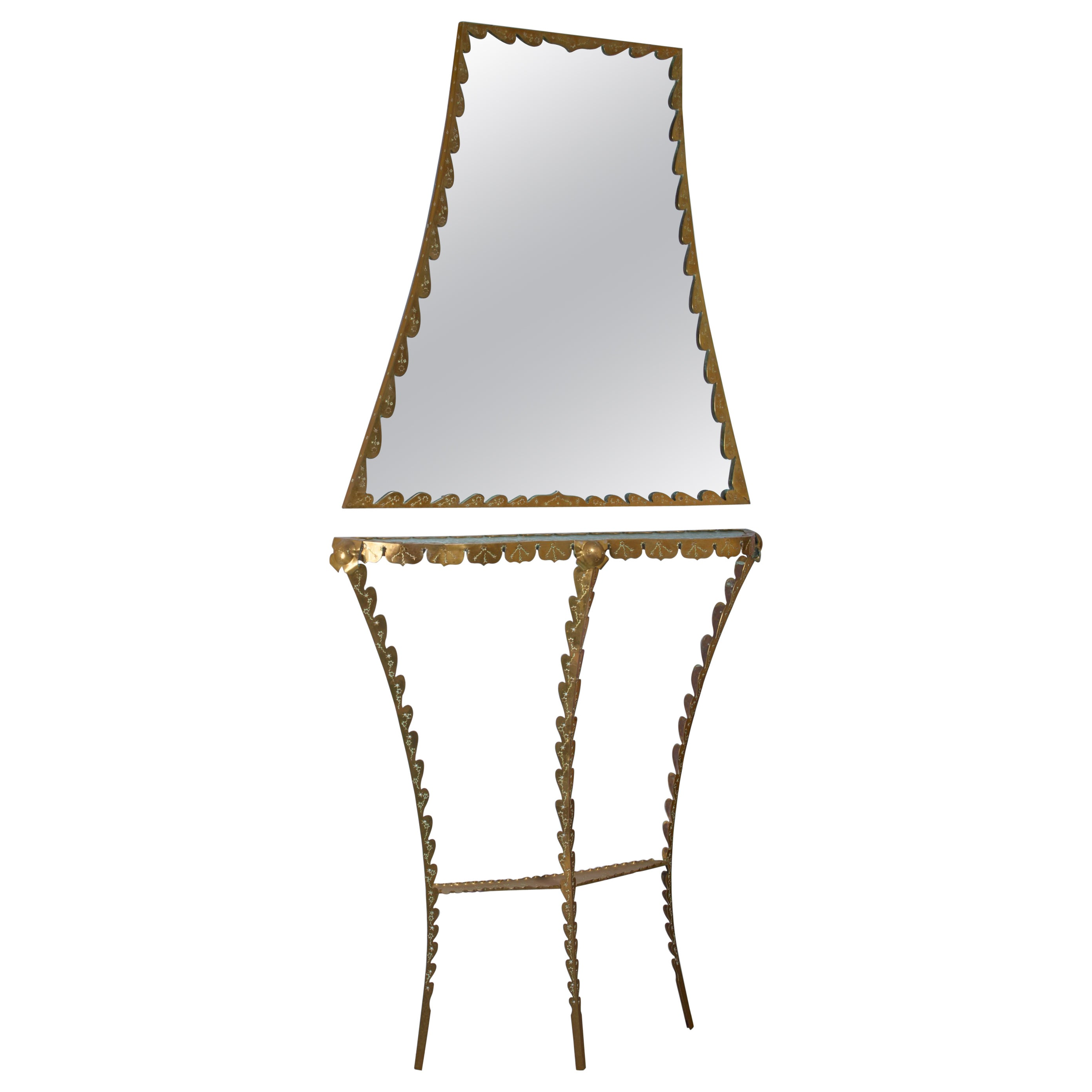 Brass Pier Luigi Colli  Console Table with Wall Mirror, Italy, 1940s
