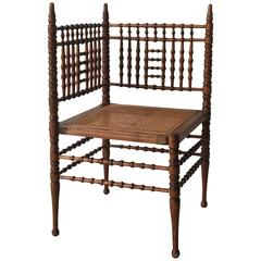 19th Century Faux Bamboo and Cane Corner Chair