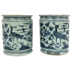 Pair of Blue and White Asian Peacock Planters