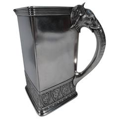 Rare Gorham Aesthetic Sterling Silver Pitcher with Elephant Handle