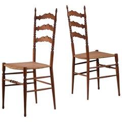 Pair of wood and cane Chiavari chairs by Sanguineti & Zunino, Italy, 1950s