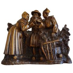 Antique & Large Hand Carved & Signed Wooden French Group Sculpture 'the Gossip'
