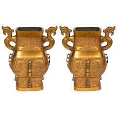 Impressive Pair of Archaistic Style Bronze Vases