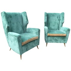Pair of Vintage Italian Armchairs 'Original Fabric'