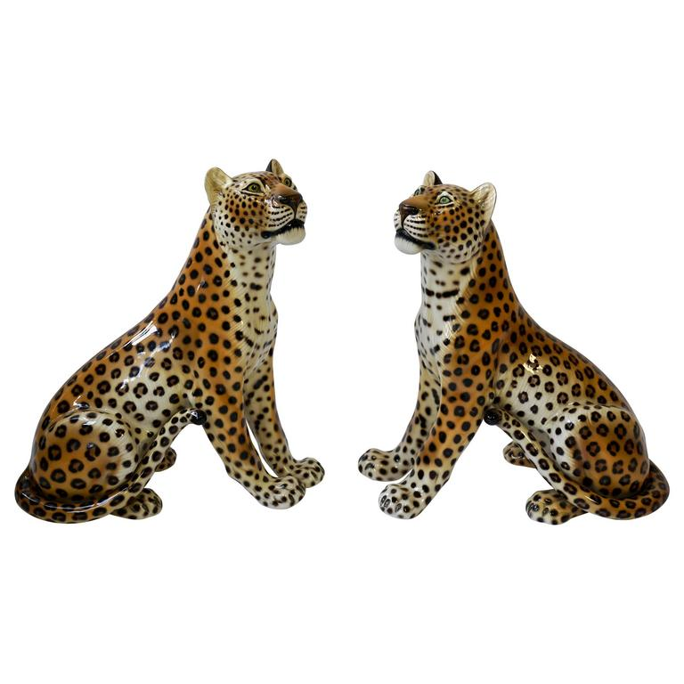One Large Italian Mid-Century Modern Ceramic Cheetah Sculptures