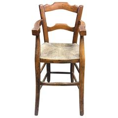 19th Century French Fruitwood Childs Highchair