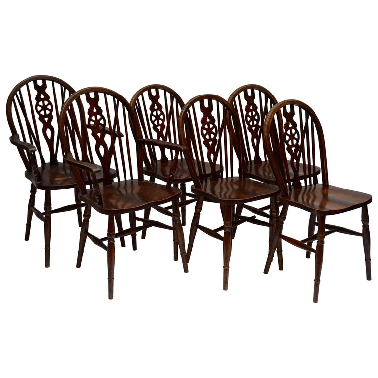 Set of Six English Windsor Chairs For Sale