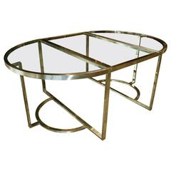 Versatile Brass Oval or Round Table by Romeo Rega, 1970