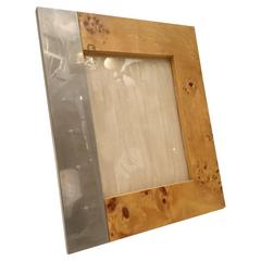 Picture Frame in Burl Wood and Chrome, circa 1970