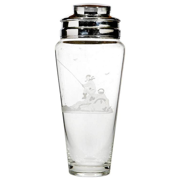 Art Deco Etched Glass Cocktail Shaker with Man Fishing